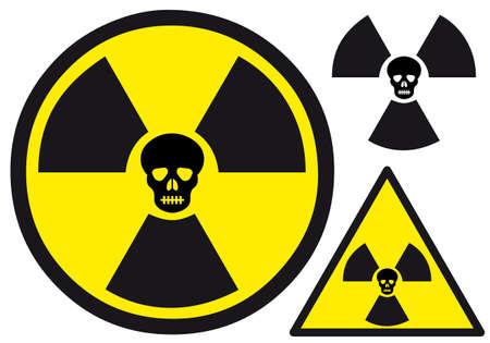 radioactive warning symbol: atomic power sign with skull, vector illustration