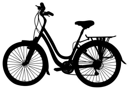 bycicle: detailed bicycle silhouette, vector illustration