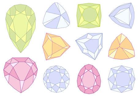 set of  gem stones, vector illustration Vector