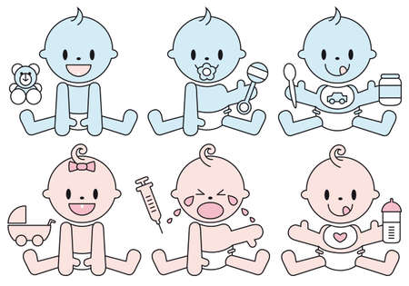 set of baby boys and girls, vector illustration Stock Vector - 9196469
