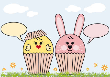 cupcake bunny and chicken, easter background Vector