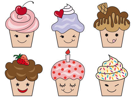 set of cute cupcake faces, vector illustration Stock Vector - 9223671