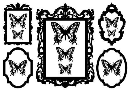 pezzo di antiquariato: butterflies in antique picture frames, vector illustration