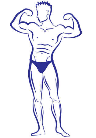 body builder muscle man, vector sketch Stock Vector - 9223676