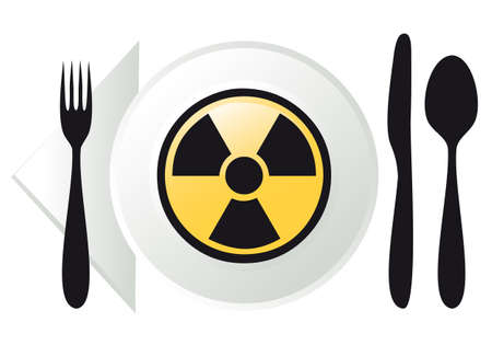 food poison: place setting with radioactive sign on plate Illustration
