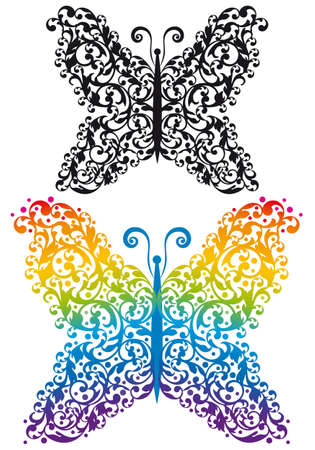 ornamental butterfly silhouette Stock Vector - 9263696