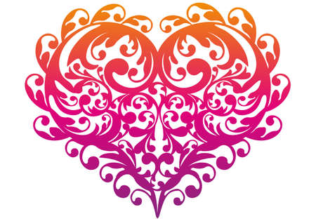 stencil: colorful heart with ornamental pattern, vector Illustration