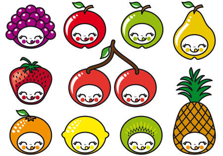 mure: jeu de caract�res de fruits cute, illustration vectorielle Illustration