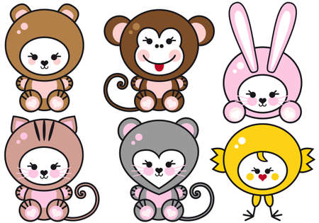 set of cute baby animals, vector illustration Vector