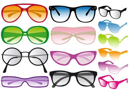 eye wear: set of colorful sunglasses, vector Illustration