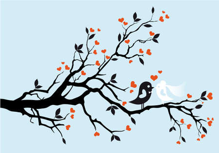 wedding birds kissing Vector