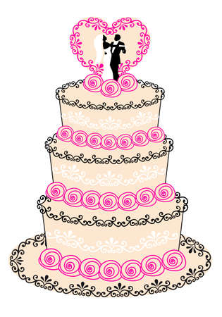 wedding cake with couple, heart and roses Vector