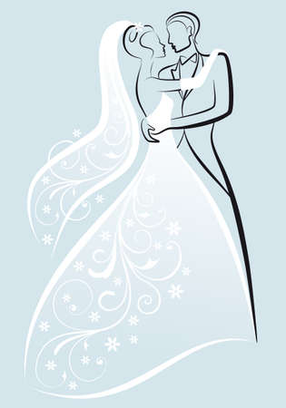 bridal veil: bride and bridegroom kissing, vector illustration