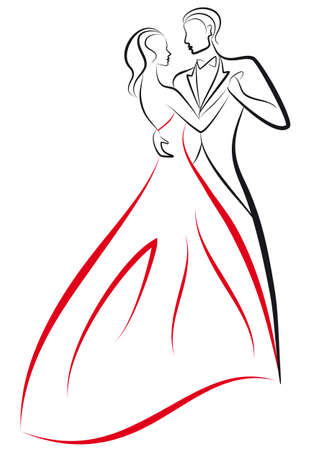 dancing woman and man, vector illustration Stock Vector - 9481300