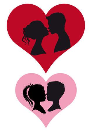 adultes et enfants couple baisers, vector illustration