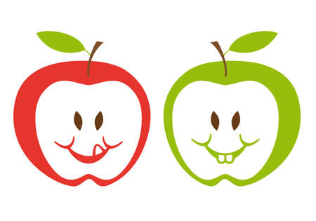 the sweet tooth: red and green apple faces, vector illustration