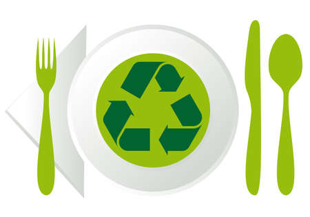 food waste: plate with green recycling sign, vector illustration
