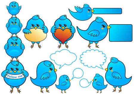 tweet balloon: blue birds icon set, vector Illustration