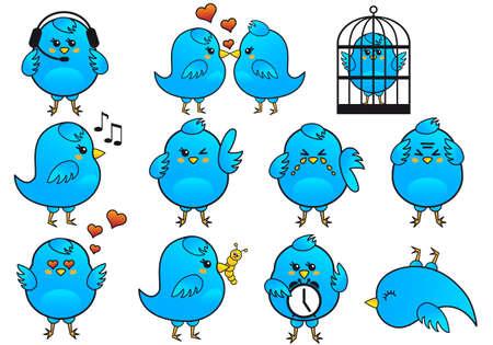 tweet icon: aves azul icono conjunto, vector