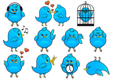 blue birds icon set, vector Vector