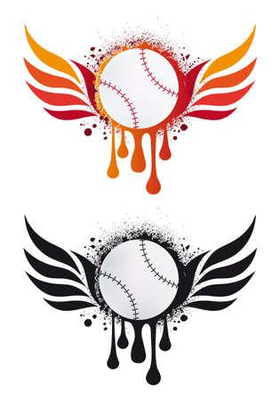 Béisbol grungy con alas de fuego y gotas, vector