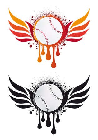 grungy baseball with fire wings and drops, vector