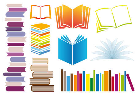 shelf with books: set of colorful books, vector illustration Illustration