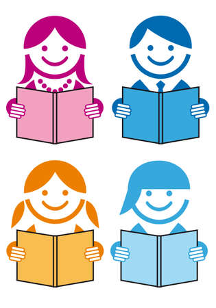 kids reading: people reading books, vector icon set Illustration