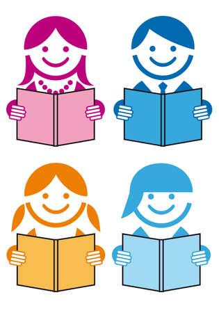 bambini che leggono: persone leggere libri, vector icon set Vettoriali