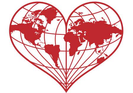 amor al planeta: coraz�n en forma de globo de tierra roja, ilustraci�n vectorial