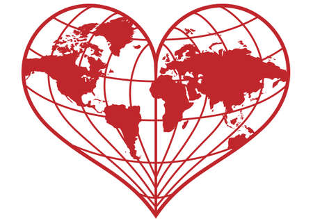 asia globe: heart shaped red earth globe, vector illustration