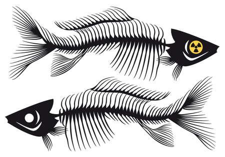 peces muertos con símbolo radiactivo, ilustración vectorial