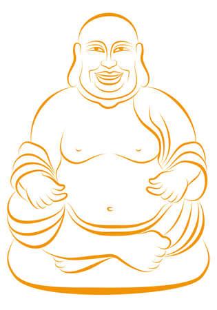 cabeza de buda: Lucky Buda sentado en pose de lotus, dibujo lineal de vectores