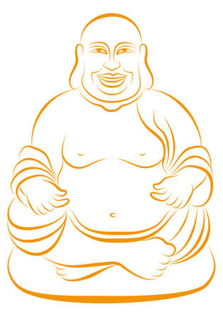smiling buddha: lucky buddha sitting in lotus pose, vector line drawing