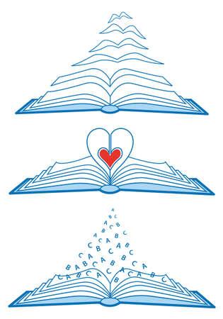 lectura de amor, de ilustración de libros abiertos