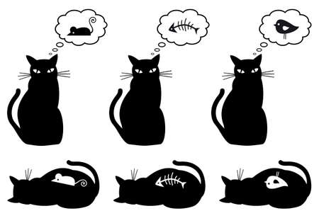 hungry and bellyful cat,illustration Vector