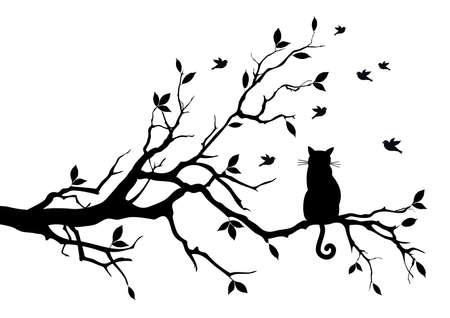 cartoon poes: kat, zittend op een boom, vogels kijken