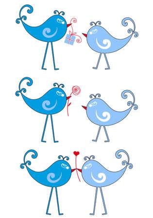 cute blue lovebirds Vector