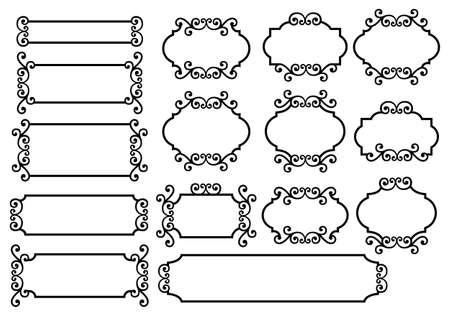 border line: labels with floral ornament Illustration