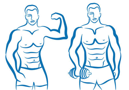 arm muskeln: Mann mit sportlichen K�rper Illustration