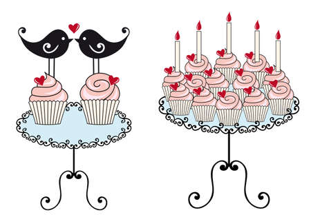 birthday cupcakes with hearts Vector