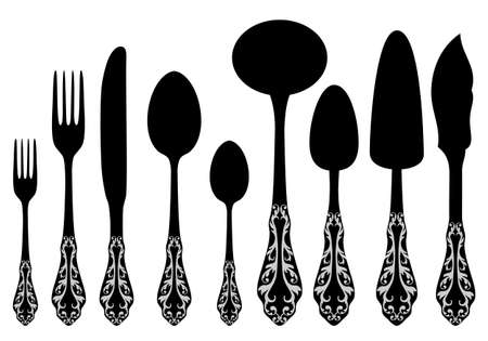 antique cutlery service Vector