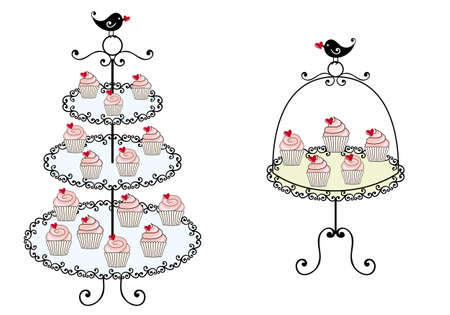 dessert plate: cupcakes on tray with birds illustration