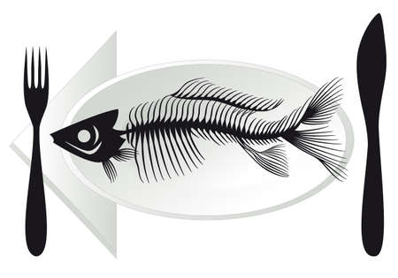 wastage: overfishing, fish bones on plate, vector illustration Illustration