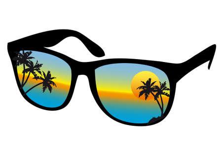 reflectie water: zonnebril met zee zonsondergang en palmbomen, vector