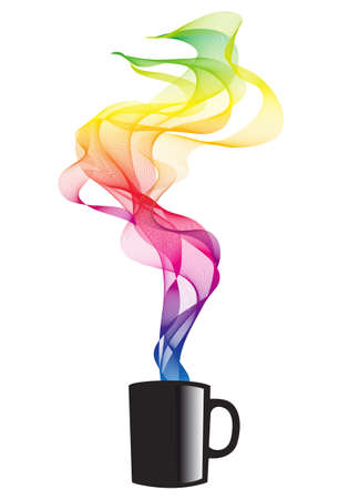 red swirls: coffee mug with colorful smoke, vector illustration