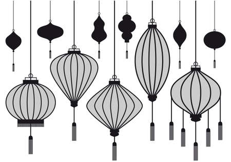 chinese paper lanterns: set of chinese lantern, vector silhouettes