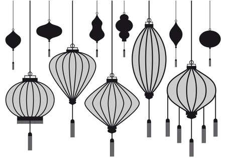 paper lantern: set of chinese lantern, vector silhouettes