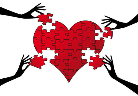 broken unity: red jigsaw heart with hands Illustration