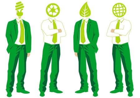 ecological thinking green businessmen Stock Vector - 10360025